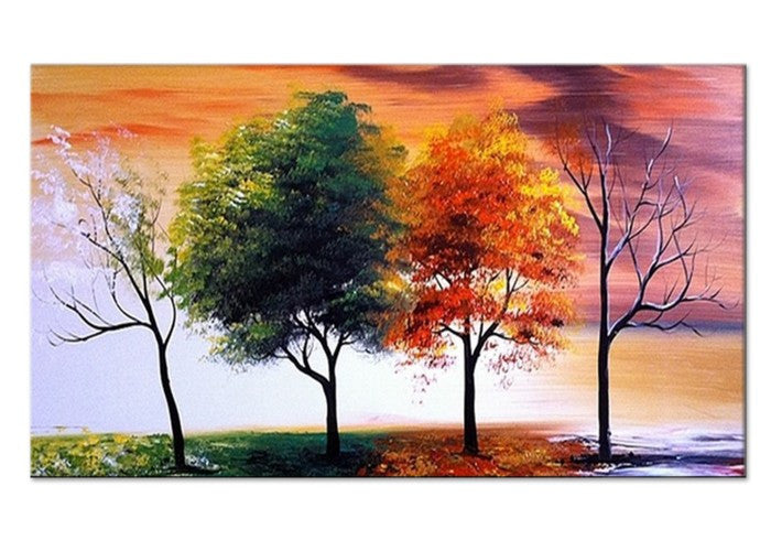 Modern tree oil painting four seasons 32x16in 1 panel for Oil paint colors names