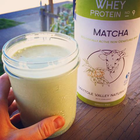 Mizuba Tea Co Matcha Mattole Valley Whey Protein. Cleanest green tea protein powder!