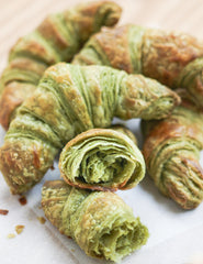Mizuba Matcha Croissants - pure farm direct green tea pastries from Thirsty for Tea. Recipe.