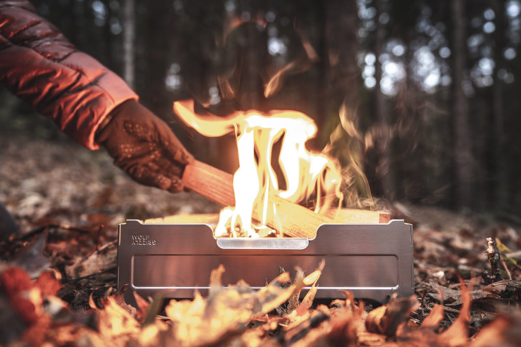 Wood campfire in a Wolf and Grizzly Fire Safe