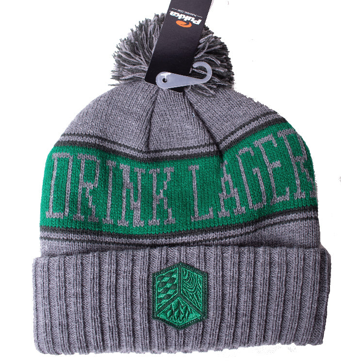 Grey Drink Lager Pom Pom Hat