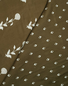 Olive Green & White Geometric Discharge Rayon Fabric - Fabriclore.com