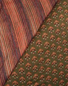 Grey & Orange Stripes Discharge Rayon Fabric - Fabriclore.com