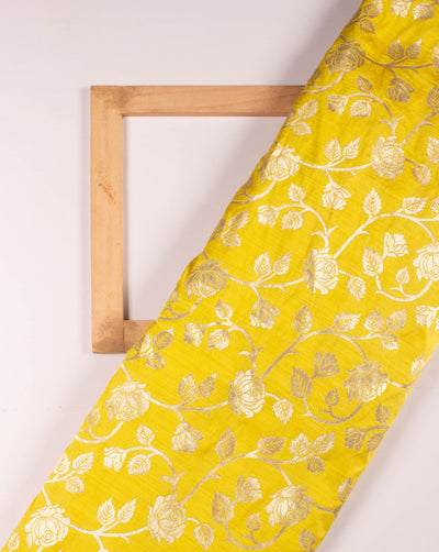 Yellow Gold Floral Jacquard Woven Art Silk Fabric - Fabriclore.com