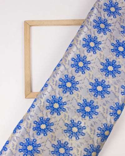 Blue Floral Pattern Woven Brocade Silk Fabric - Fabriclore.com