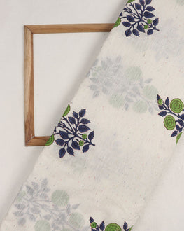 White & Green Floral Mughal Hand Block Chanderi Fabric - Fabriclore.com