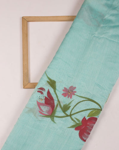 Floral Hand Painted Mercerized Chanderi Fabric - Fabriclore.com