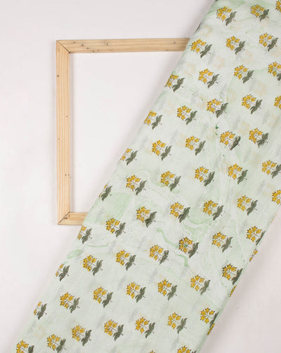 Green Yellow Booti Pattern Exclusive Design Marble Print Hand Block Mercerized Chanderi Fabric - Fabriclore.com