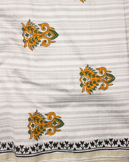 South Chanderi Hand Block Printed Fabric With Border
