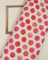 Off-White & Red Polka Dots Digital Print Polyester Lycra Fabric (Width 50 Inch ) - Fabriclore.com