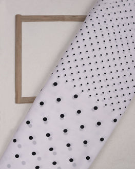White & Black Polka Dots Screen Print Crepe Fabric - Fabriclore.com
