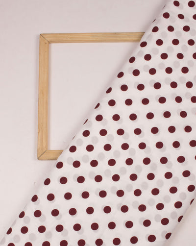White Maroon Polka Dots Pattern Screen Print Crepe Fabric - Fabriclore.com