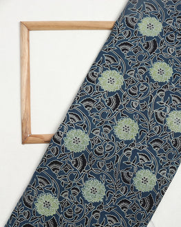 Blue & Black Floral Hand Block Cotton Fabric - Fabriclore.com