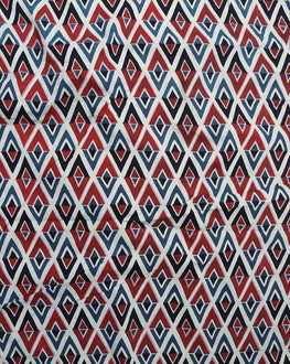 Blue & Red Floral Hand Block Cotton Fabric