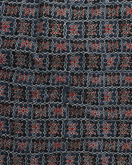 Blue & Red Abstract Hand Block Cotton Fabric - Fabriclore.com