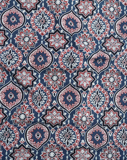 Blue & Red Geometric Hand Block Cotton Fabric - Fabriclore.com