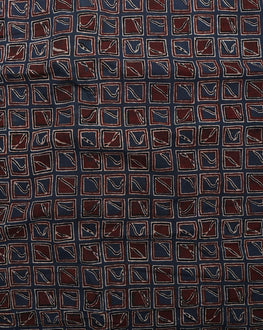 Blue & Maroon Floral Hand Block Cotton Fabric - Fabriclore.com