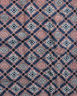 Blue & White Geometric Hand Block Cotton Fabric