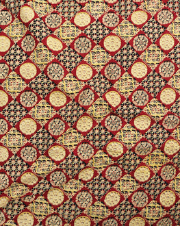 Yellow & Red Geometric Hand Block Cotton Fabric - Fabriclore.com