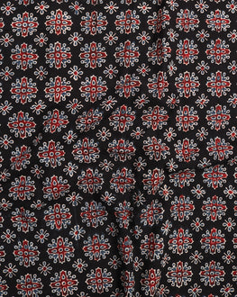 Black & Red Floral Hand Block Cotton Fabric