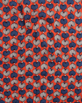 Orange & Blue Abstract Hand Block Cotton Fabric - Fabriclore.com