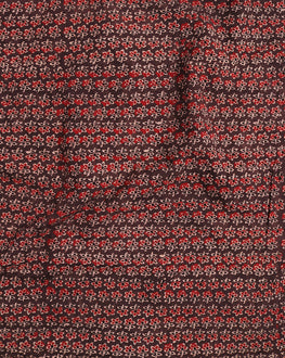 Brown & Red Floral Hand Block Cotton Fabric - Fabriclore.com