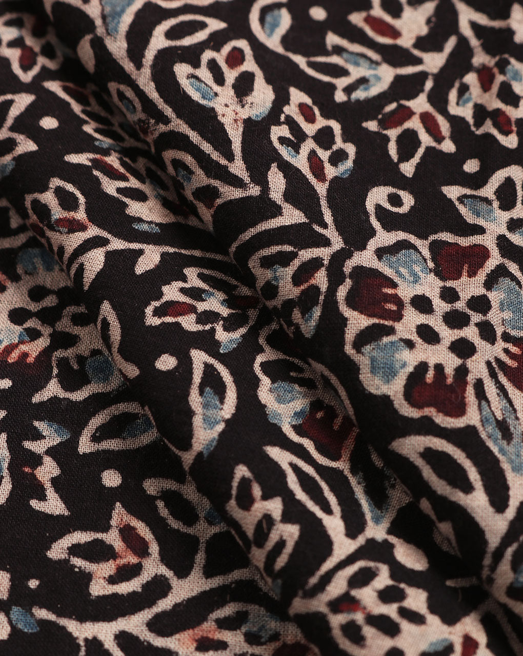 Black & Blue Ajrak Geometric Hand Block Natural Dye Cotton Fabric - Fabriclore.com