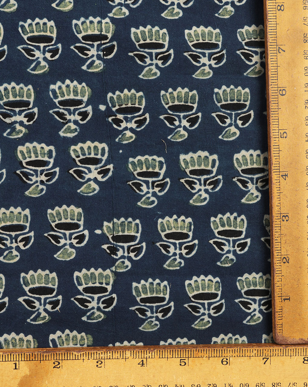 Blue & Green Ajrak Floral Hand Block Natural Dye Cotton Fabric - Fabriclore.com
