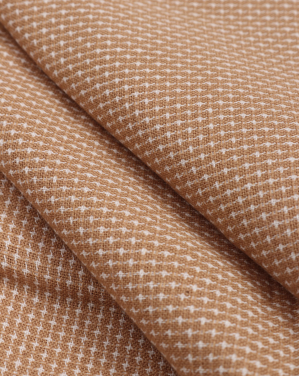 Beige & White Woven Cotton Dobby Fabric - Fabriclore.com