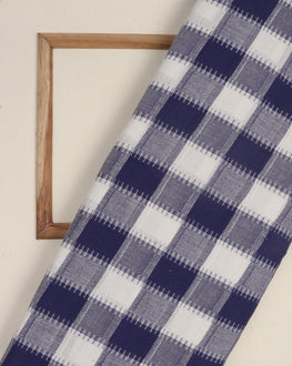 Blue & White Woven Cotton Dobby Fabric - Fabriclore.com