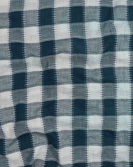 Turquoise & White Woven Cotton Dobby Fabric - Fabriclore.com