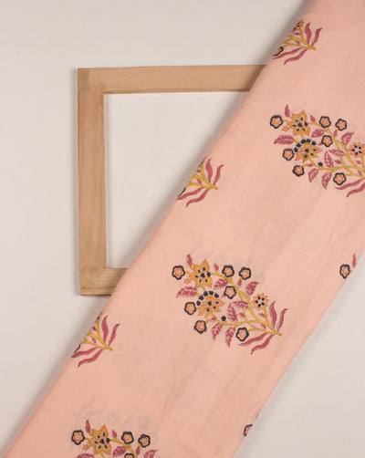 Salmon Floral Hand Block Glazed Cotton Fabric - Fabriclore.com