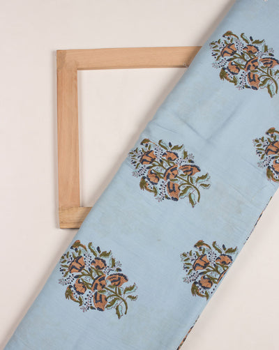 Blue Floral Hand Block Glazed Cotton Fabric - Fabriclore.com