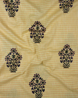Yellow Floral Mughal Cotton By Rayon Chambray Hand Block Fabric