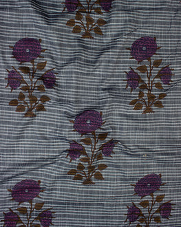 Grey Floral Mughal Cotton By Rayon Chambray Hand Block Fabric