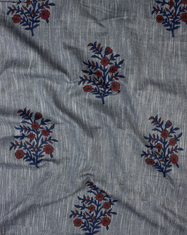 Grey Mughal Cotton By Rayon Cashmere Hand Block Fabric