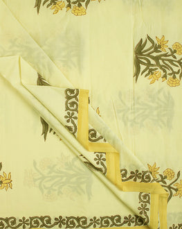 Yellow/Green Floral Mughal Hand Block Cotton Fabric - Fabriclore.com