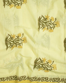 Yellow/Green Floral Mughal Hand Block Cotton Fabric