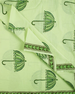 Green/Pink Hand Block Cotton Fabric