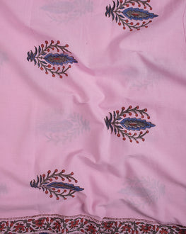 Pink/Blue Floral Mughal Hand Block Cotton Fabric