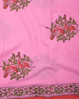Pink/Red Floral Mughal Hand Block Cotton Fabric