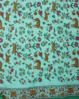 Green/Yellow Hand Block Cotton Fabric