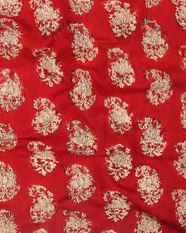 Red & Beige Floral Hand Block Cotton Fabric - Fabriclore.com