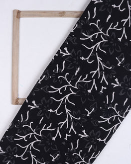 Black & White Floral Hand Block Cotton Fabric - Fabriclore.com
