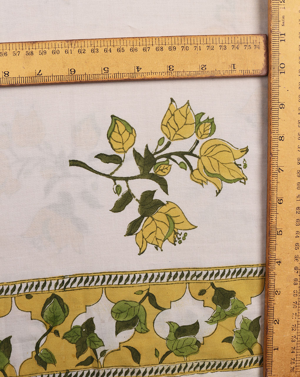 Beige & Yellow Exclusive Design Floral Hand Block Cotton Fabric With Border - Fabriclore.com