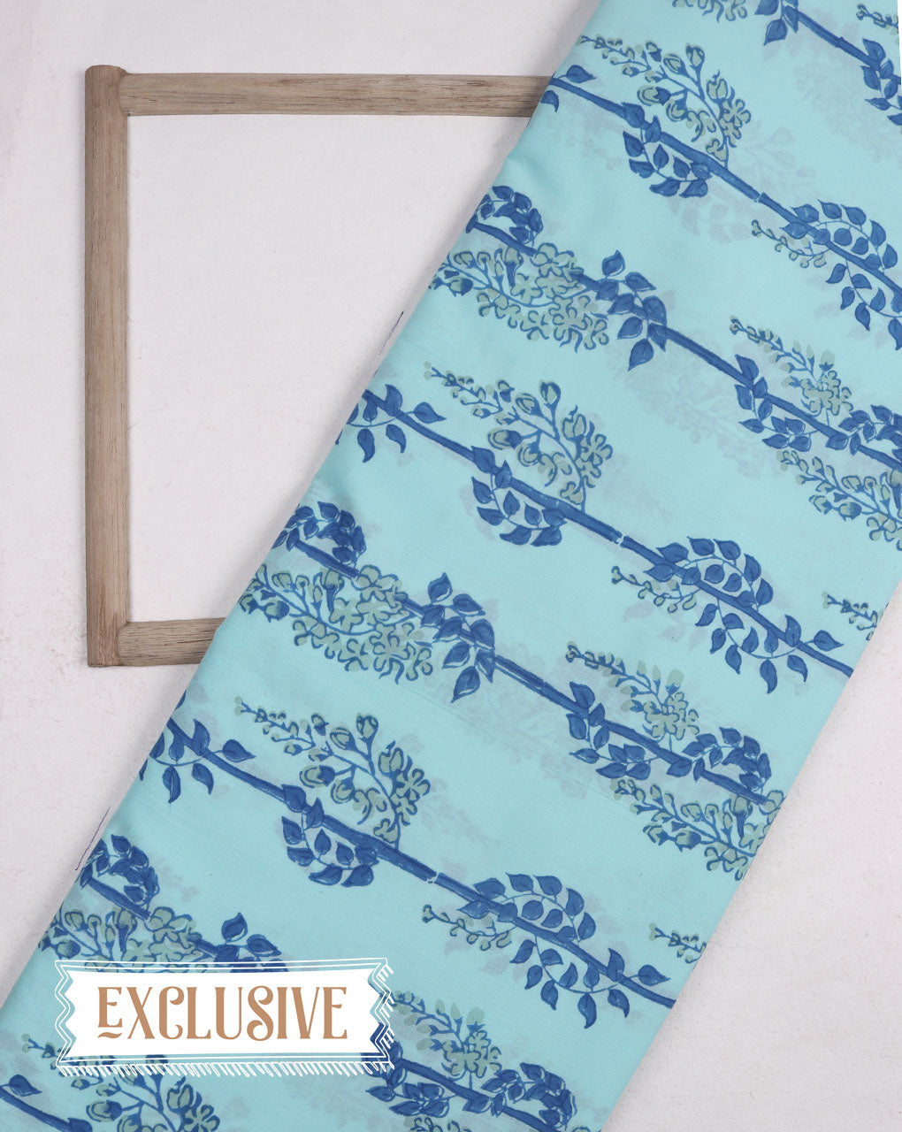 Aqua & Blue Exclusive Design Floral Hand Block Cotton Fabric - Fabriclore.com