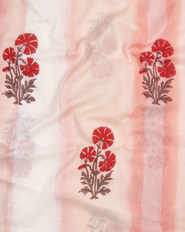 Salmon & Red Floral Mughal Hand Block Cotton Fabric (Width 56 Inch ) - Fabriclore.com