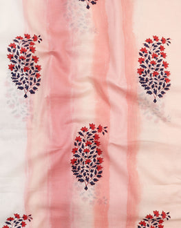 Salmon & Navy Blue Floral Mughal Hand Block Cotton Fabric (Width 56 Inch ) - Fabriclore.com