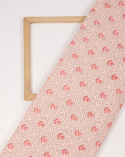 Peach Red Geometric Pattern Hand Block Lizzy Bizzy Cotton Fabric - Fabriclore.com