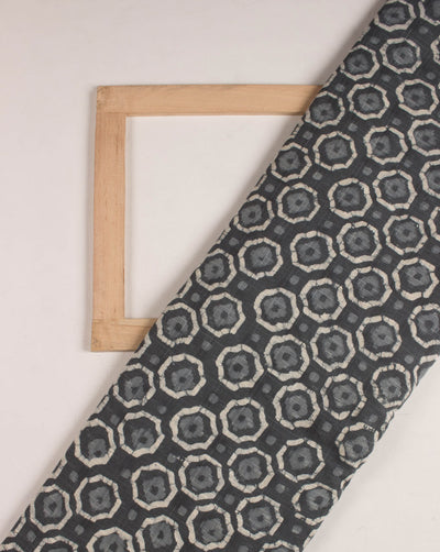 Grey Geometric Dabu Hand Block Dobby Cotton Fabric - Fabriclore.com